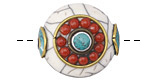 Tibetan White Shell & White Brass w/ Coral Beading & Turquoise Center Coin Bead 24-25mm