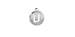 """Stainless Steel Initial Coin Charm """"U"""" 10x12mm"""