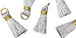 Metallic Silver w/ Gold Binding & Jump Ring Thread Tassel 17mm