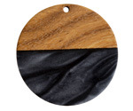 Walnut Wood & Jet Pearlescent Resin Coin Focal 38mm