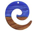Walnut Wood & Indigo Pearlescent Resin Koru Focal 36x37mm