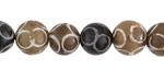 Antique Soochow Jade (dark) Carved Circles Round 10mm