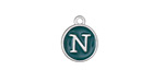 "Peacock Green Enamel Silver Finish Initial Coin Charm ""N"" 12x14mm"