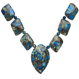 Midnight Blue Impression Jasper & Pyrite Mixed Pendant Set 13-35mm