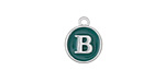 "Peacock Green Enamel Silver Finish Initial Coin Charm ""B"" 12x14mm"