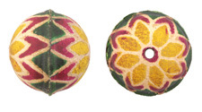 Hand Painted Yellow & Pink Dahlia Leather Round Bead 26-29mm