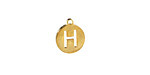 """Gold (plated) Stainless Steel Initial Coin Charm """"H"""" 10x12mm"""
