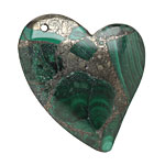 Malachite & Pyrite Sweeping Left Heart Pendant 40x42mm