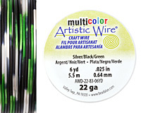 Artistic Wire MultiColor Silver/Black/Green 22 Gauge, 6 Yards