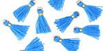 Ocean Blue w/ Gold Binding & Jump Ring Tiny Thread Tassel 12mm