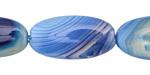 Cobalt Line Agate Flat Oval 30x15mm