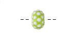 Grace Lampwork Polka Dots on Lime Green Rondelle 9x14mm