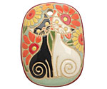Golem Studio Cats in the Garden Carved Ceramic Rectangle Pendant 30x41mm