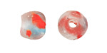 African Recycled Glass Multi Speckled Aqua w/ Coral Tumbled Round 12-16mm