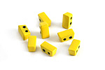 Yellow Enamel 2-Hole Tile Thin Rectangle Bead 4x8mm