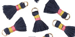 Navy Blue w/ Pink and Marigold Binding & Jump Ring Thread Tassel 18mm