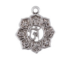 Antique Silver (plated) Mantra Lotus Pendant 20x23mm