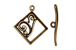 Antique Brass (plated) Diamond w/ Swirls Toggle Clasp 28x24mm, 29mm bar