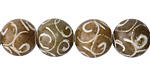 Soochow Jade Carved Swirls Round 12mm