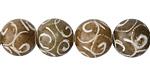 Soochow Jade Carved Swirls Round 12mm