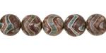 Tibetan (Dzi) Agate (gray-green) Zigzag Round 8mm