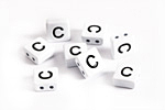 "White Enamel 2-Hole Tile Square Bead w/ Letter ""C"" 8mm"