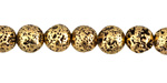 Metallic Antique Gold (plated, dark) Lava Rock Round 8mm