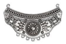 Zola Elements Antique Silver (plated) Sunburst Bib Focal Link 69x44mm