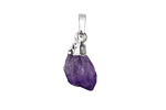 Amethyst Natural Cut Drop Pendant w/ Silver Finish 9-11x18-21mm