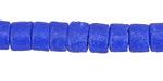 African Cobalt Sand Cast Powder Glass (Krobo) Heishi Bead 6-7x8mm