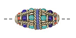 Tibetan Brass Roped Rice Bead w/ Lapis, Coral & Turquoise 29x14mm