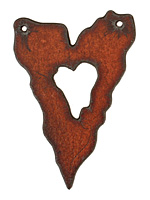The Lipstick Ranch Rusted Iron Jagged Heart Link 40x59mm