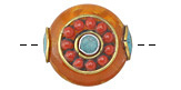 Tibetan Resin Amber & Brass w/ Coral Beading & Turquoise Center Coin Bead 24-25mm