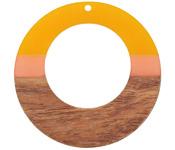 Walnut Wood & Sunrise Resin Gypsy Hoop Focal 49m