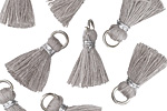 Light Gray w/ Silver Binding & Jump Ring Thread Tassel 18mm