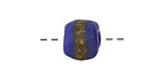 African Powder Glass (Krobo) Navy Blue w/Band Tumbled Round 10-12mm