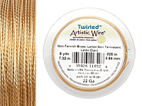 Twisted Artistic Wire Non-Tarnish Brass 22 gauge, 8 yards
