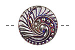 Czech Glass Electric Purple w/ Silver Lunar Spiral Button 27mm