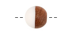 Walnut Wood & Alabaster Resin Bead 15mm