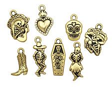 TierraCast Antique Gold (plated) Day Of The Dead Charm Set