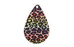 Rainbow Leopard Etched & Printed Gold Finish Teardrop Focal 18x27mm