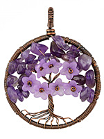 Amethyst Antique Copper (plated) Wire-Wrapped Tree of Life Pendant 47x60mm