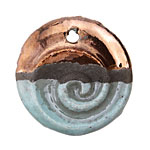 Greek Ceramic Raku Metallic Frosted Copper Large Nautilus Pendant 35mm
