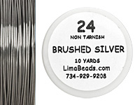 Parawire Non-Tarnish Brushed Silver 24 Gauge, 10 Yards