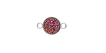 Metallic Solar Crystal Druzy Coin Link in Silver Finish Bezel 14x9mm