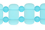 Turquoise Bay Recycled Glass 2-Hole Rounded Pillow 11x23mm