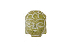 Dark Green Soochow Jade Carved Buddha Head 13-14x19-20mm