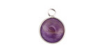 Dogtooth Amethyst Coin Focal w/ Silver Finish 13x17mm