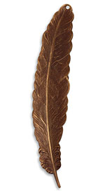 Vintaj Natural Brass Tall Feather 18x88mm