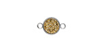 Metallic Gold Crystal Druzy Coin Link in Silver Finish Bezel 14x9mm
